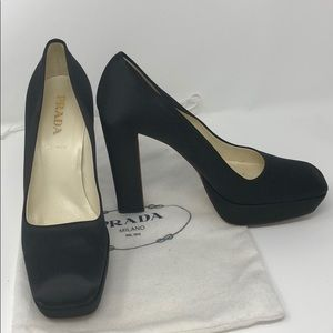 Black Prada satin shoes size 37 platform.